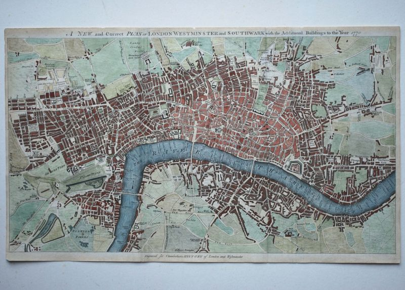 A New and Correct Plan of London Westminster and Southwark with the Additional Buildings to the Year 1770.