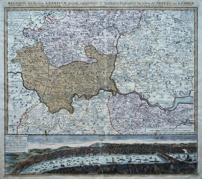 Regionis quae est circa Londinum Specialis repraesentatio geographica ...