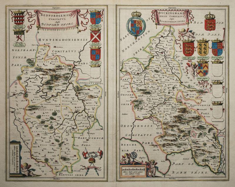 Bedfordiensis Comitatus, Anglis Bedford Shire. Buckinghamensis Comitatus, Anglis Buckingham Shire