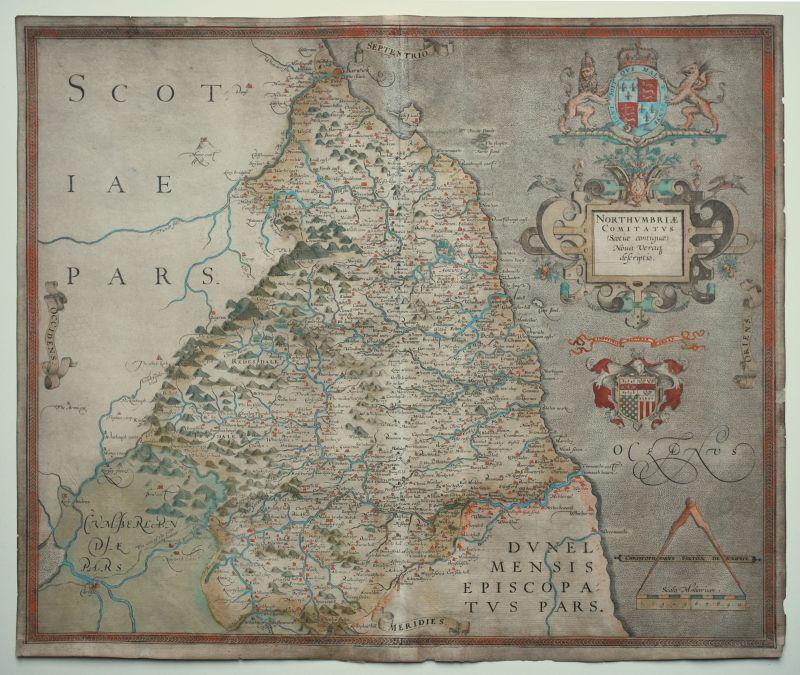 Northumbriae Comitatus (Scotiae contiguae) Nova Veraq descriptio.