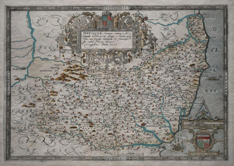 Suffolciae Comitatus continens in Se Oppida mercatoria 25, Pagos et Villas 464, Una cum Singulis Hundredis & fluminibus in eodem Vera descriptio. Anno Domini 1575