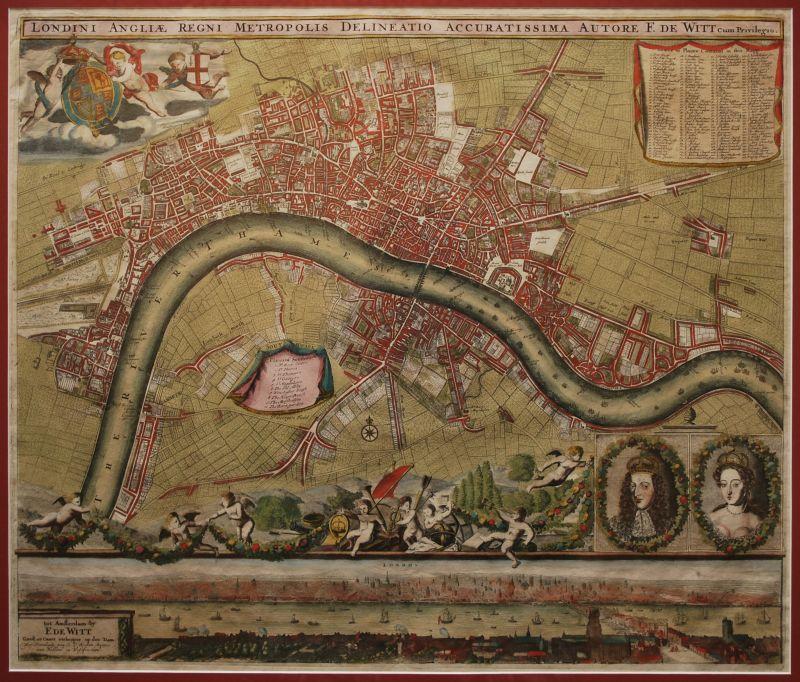 Londini Angliae Regni Metropolis Delineatio Accuratissima Autore F. De Witt
