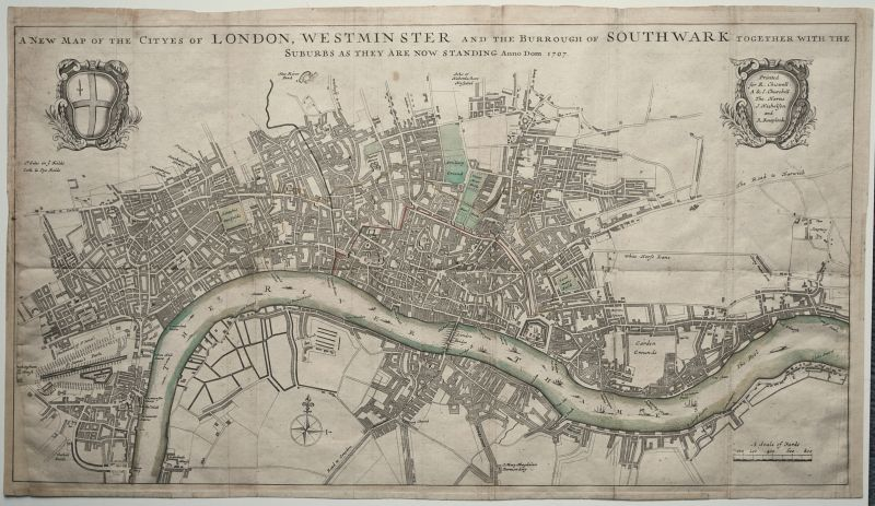 A New Map of the Cityes of London, Westminster and the Burrough of Southwark Together with the Suburbs as they are now standing Anno Dom. 1707.